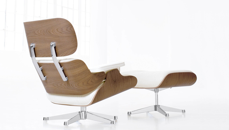 Vitra vitra lounge chair ottoman walnut white for Vitra lounge chair nachbau